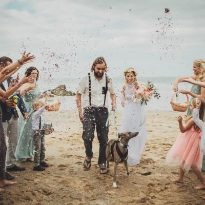 Lusty Glaze Beach, a dog friendly wedding venue in Cornwall