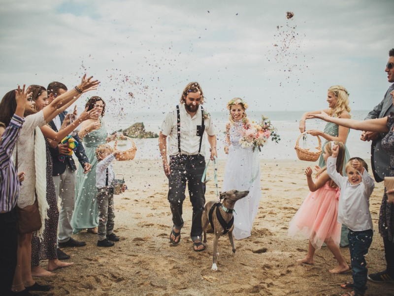 Lusty Glaze Beach, a dog friendly wedding venue in Cornwall