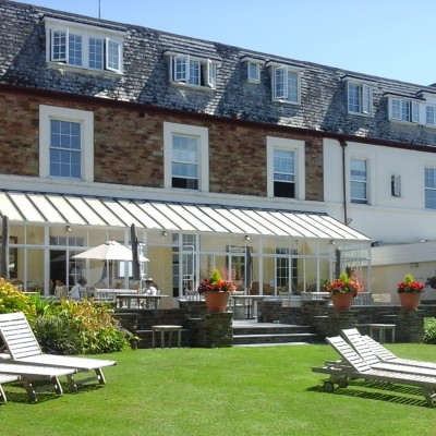 Garden loungers at Budock Vean Hotel