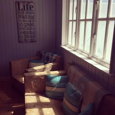 Lusty Glaze Beach chalet interior