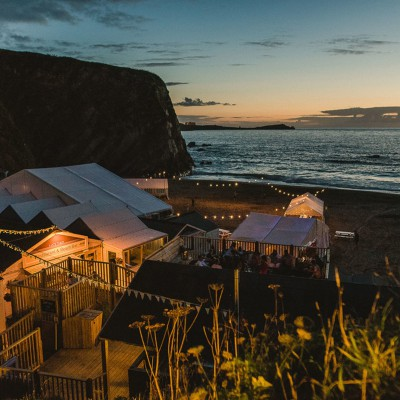 Lusty Glaze Beach at night