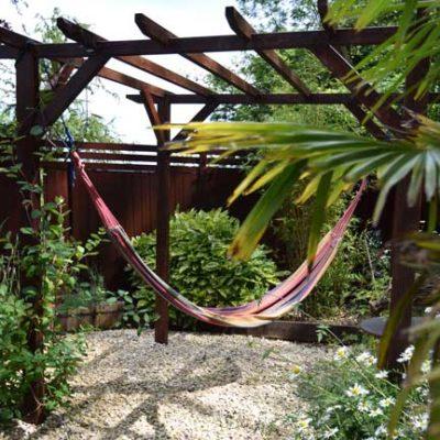 Hammock in the garden at The Quantock Hide