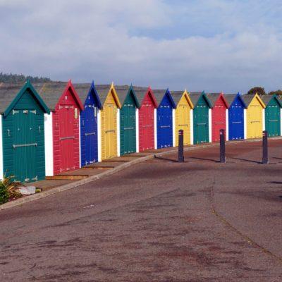 Beach huts at Dawlish Warren in Devon