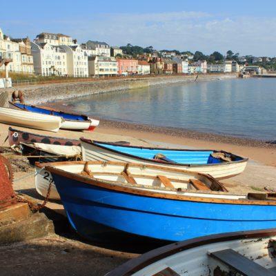 Boats on Dawlish Warren Beach in Devon